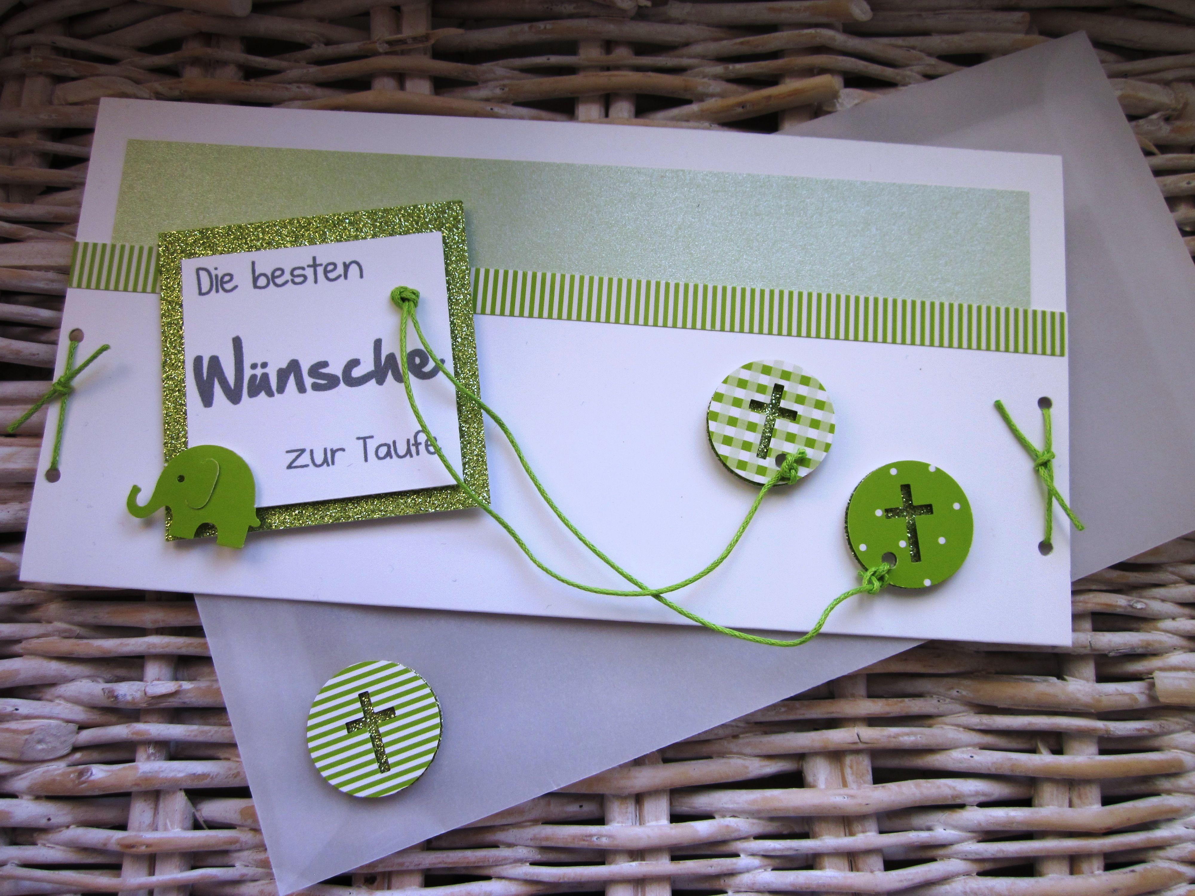 Taufkarte grün weiß glitzerpapier kreuze elefant martha stewart ...