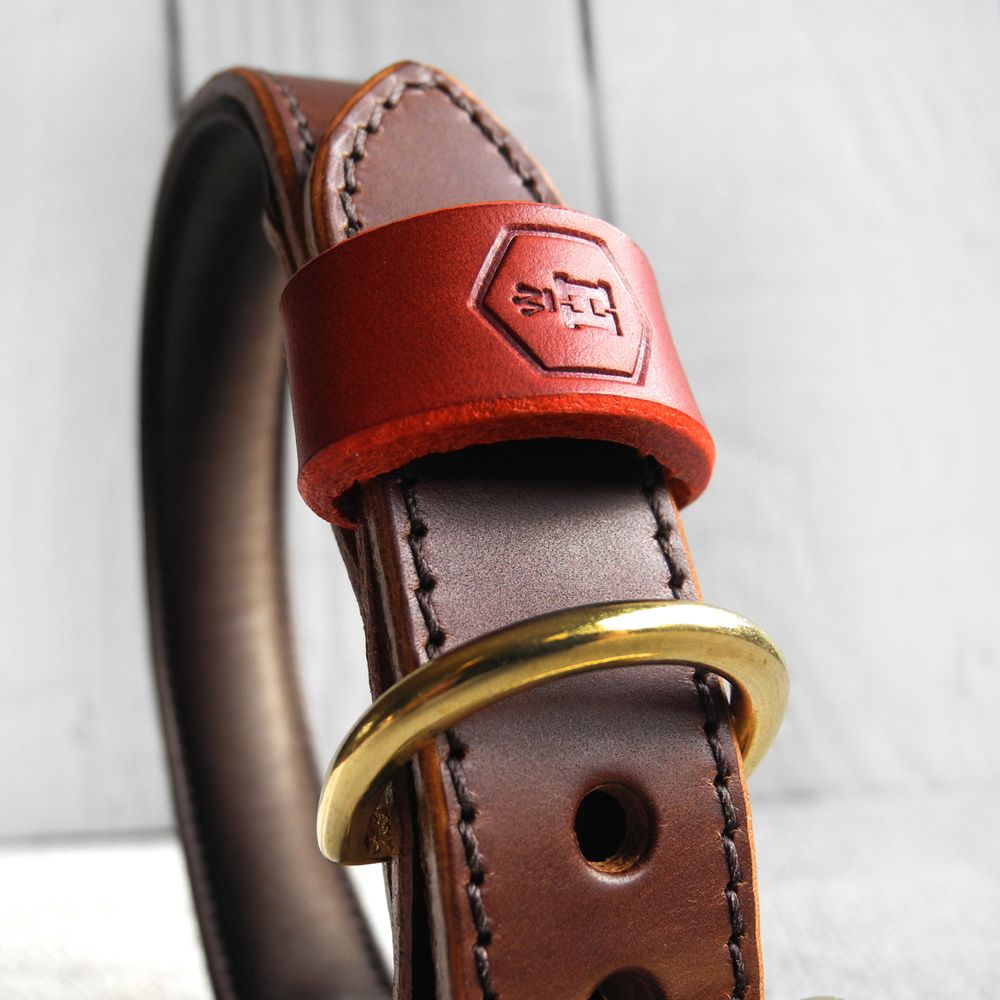 Monogram Two Tone Luxury Padded Leather Dog Collar Brown