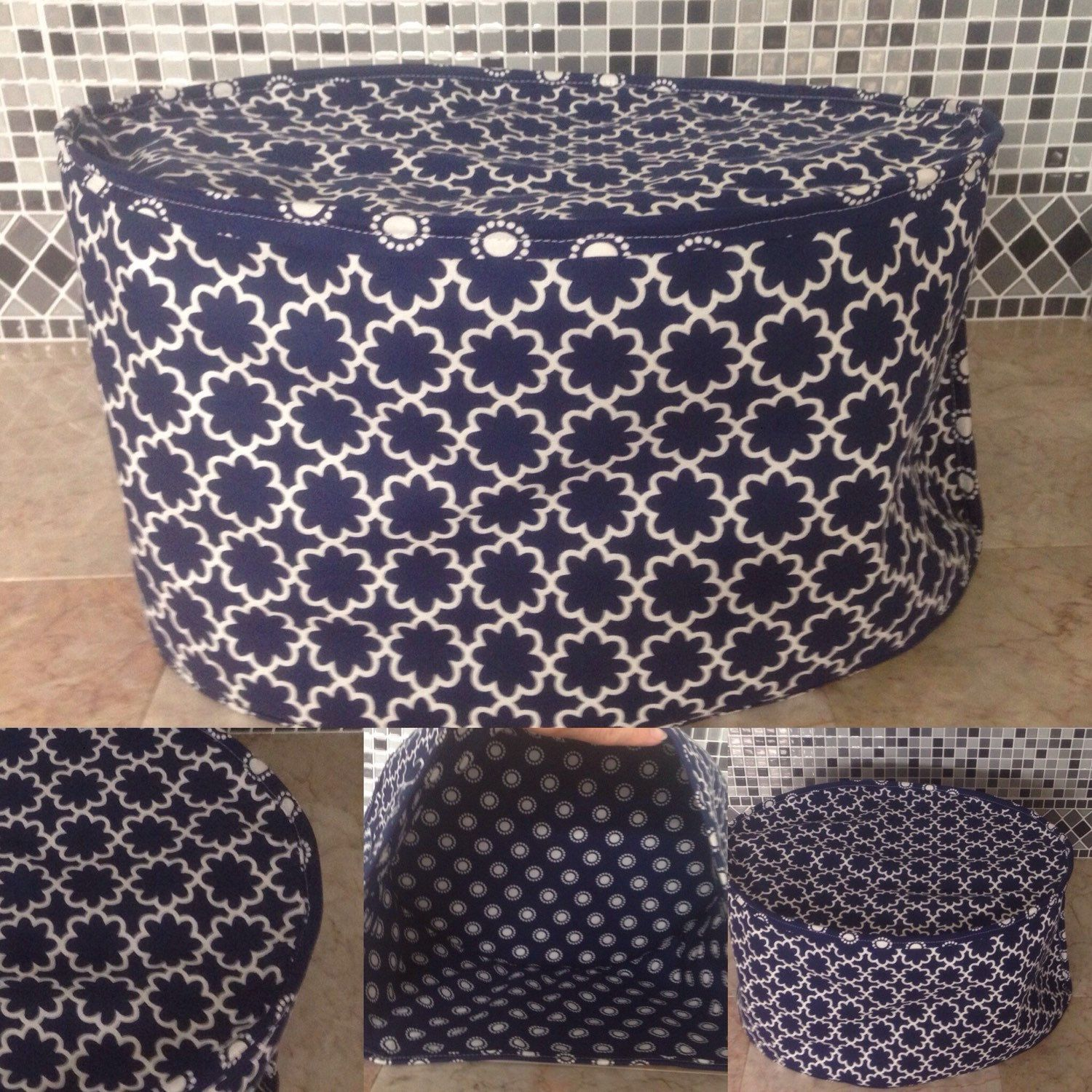 This Is An Oval Crock Pot Cover In Navy Blue And White Pattern Print Appliance Covers Mom Sewing Small Appliance Covers