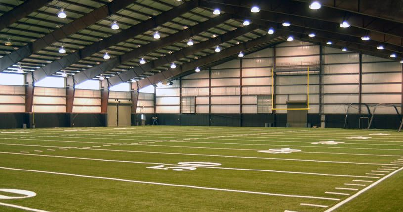 Mansion with indoor soccer field  Al Glick Field House Indoor Football Practice Facility, University ...