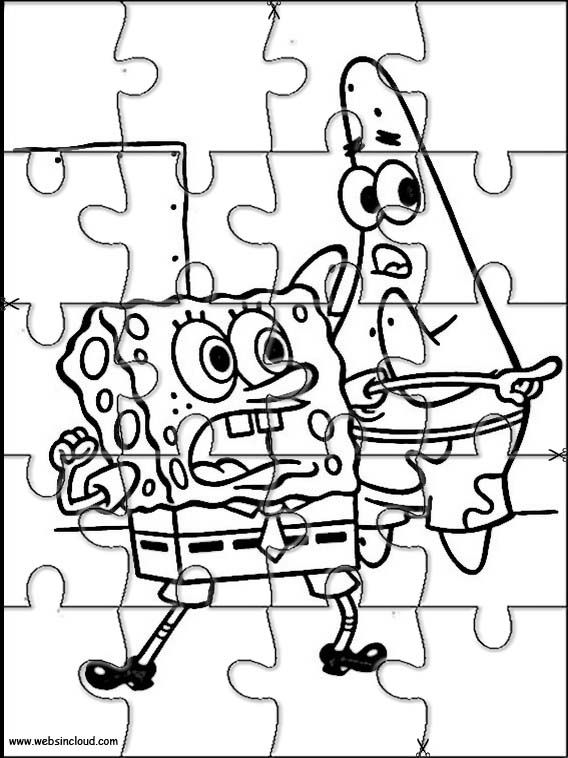 Printable jigsaw puzzles to cut out for kids SpongeBob 32