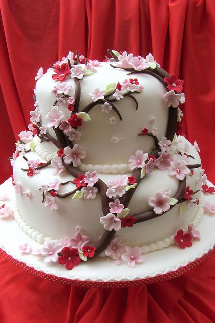 Cherry Blossom wedding cake.. by Anita Jamal, via Flickr   #dessert #cake #pink #red #food