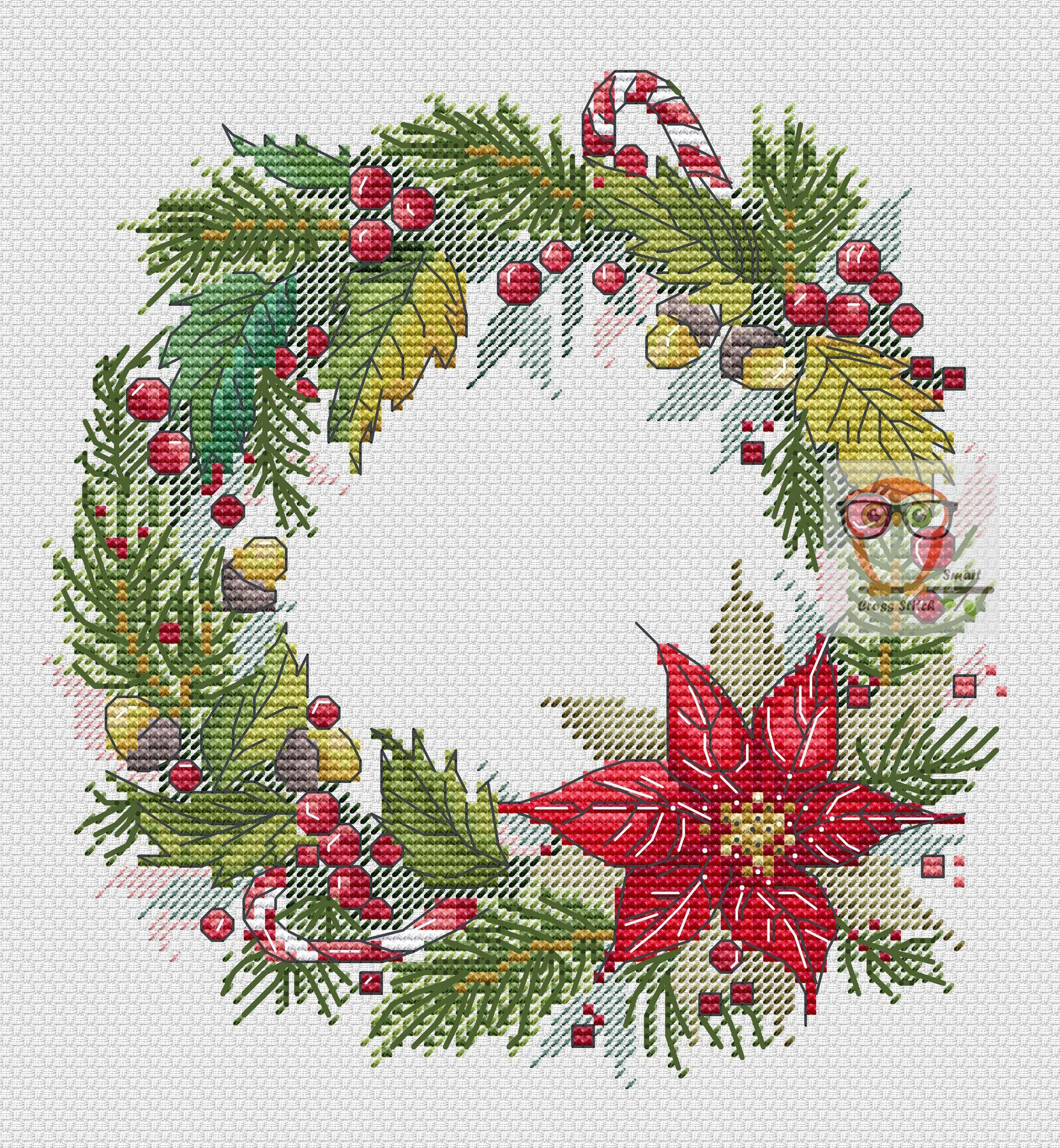 Christmas wreathuu cross stitch pattern cross stitch patterns