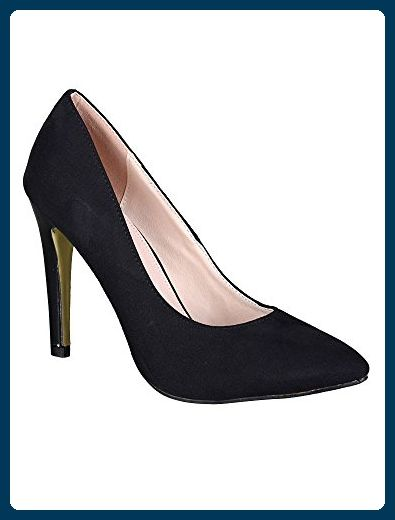 Aisun Damen Demin Suede Spitz Canvas Stiletto Pumps Schwarz 42 EU