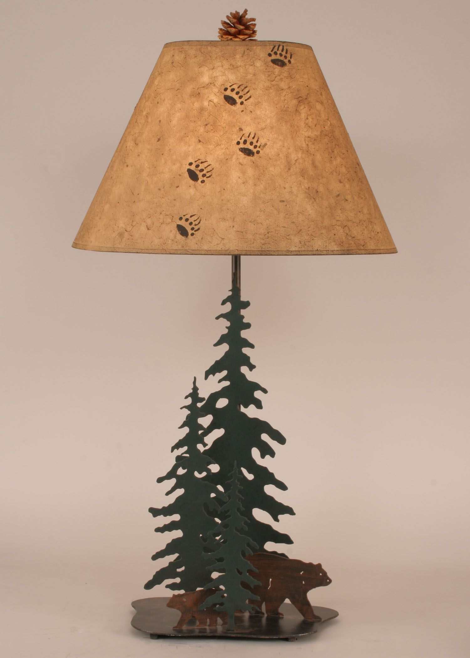 Rustic iron pine tree table lamp with bear family outland finish rustic iron pine tree table lamp with bear family outland finish height 33in geotapseo Choice Image