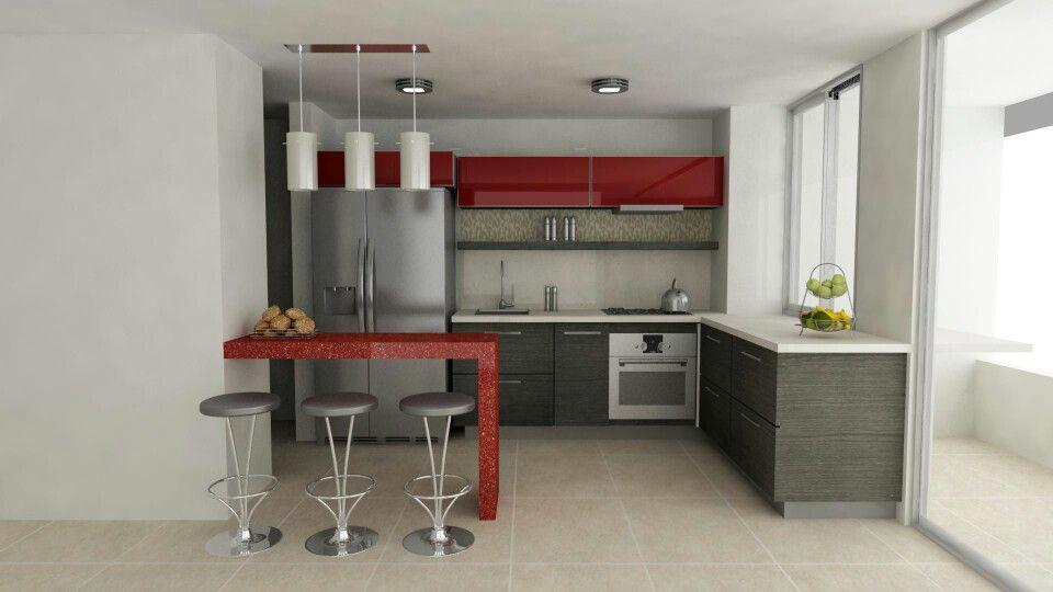 Cocina roja Decoración Pinterest Cocina roja, Rojo y Cocinas