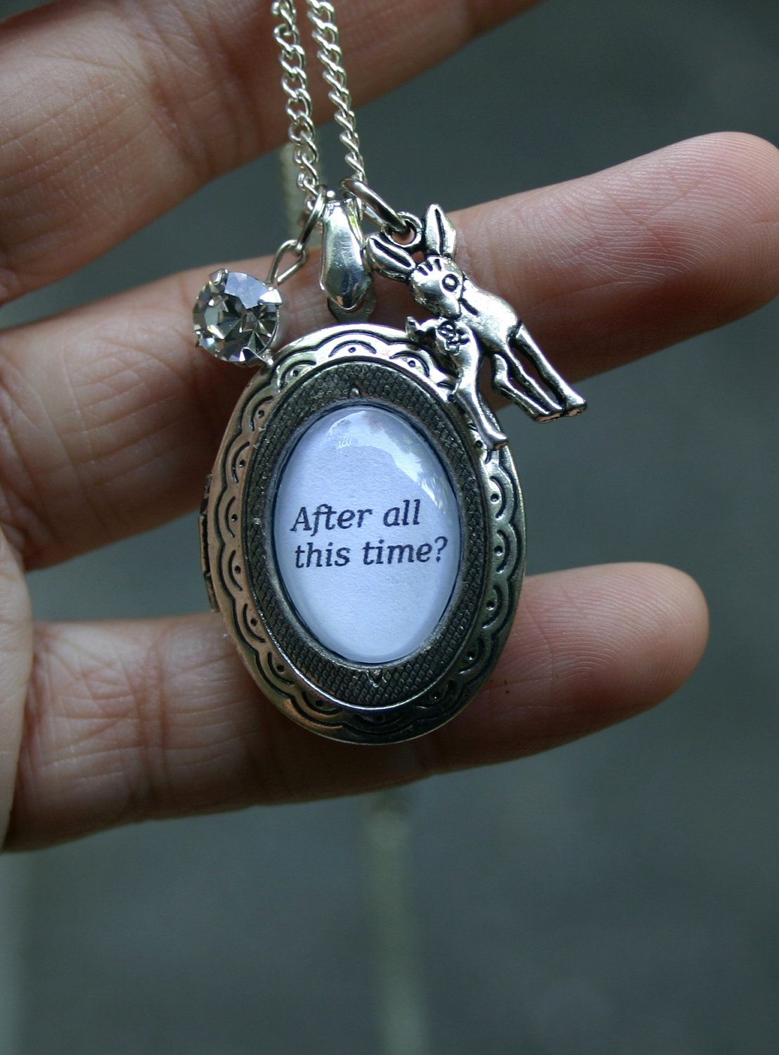 After all this time.... Always Lily and Snape silver Harry Potter doe patronus and locket necklace. $22.00 USD, via Etsy.