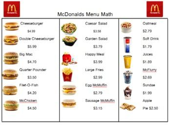Menu Math Mcdonalds Real Food Menu Mcdonald Menu Food Menu