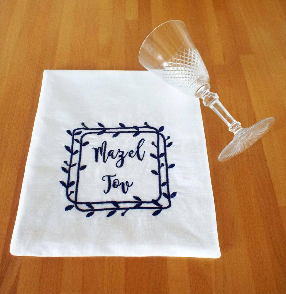 Groom Smash Bag Jewish Wedding Blue white bag Ketubbah