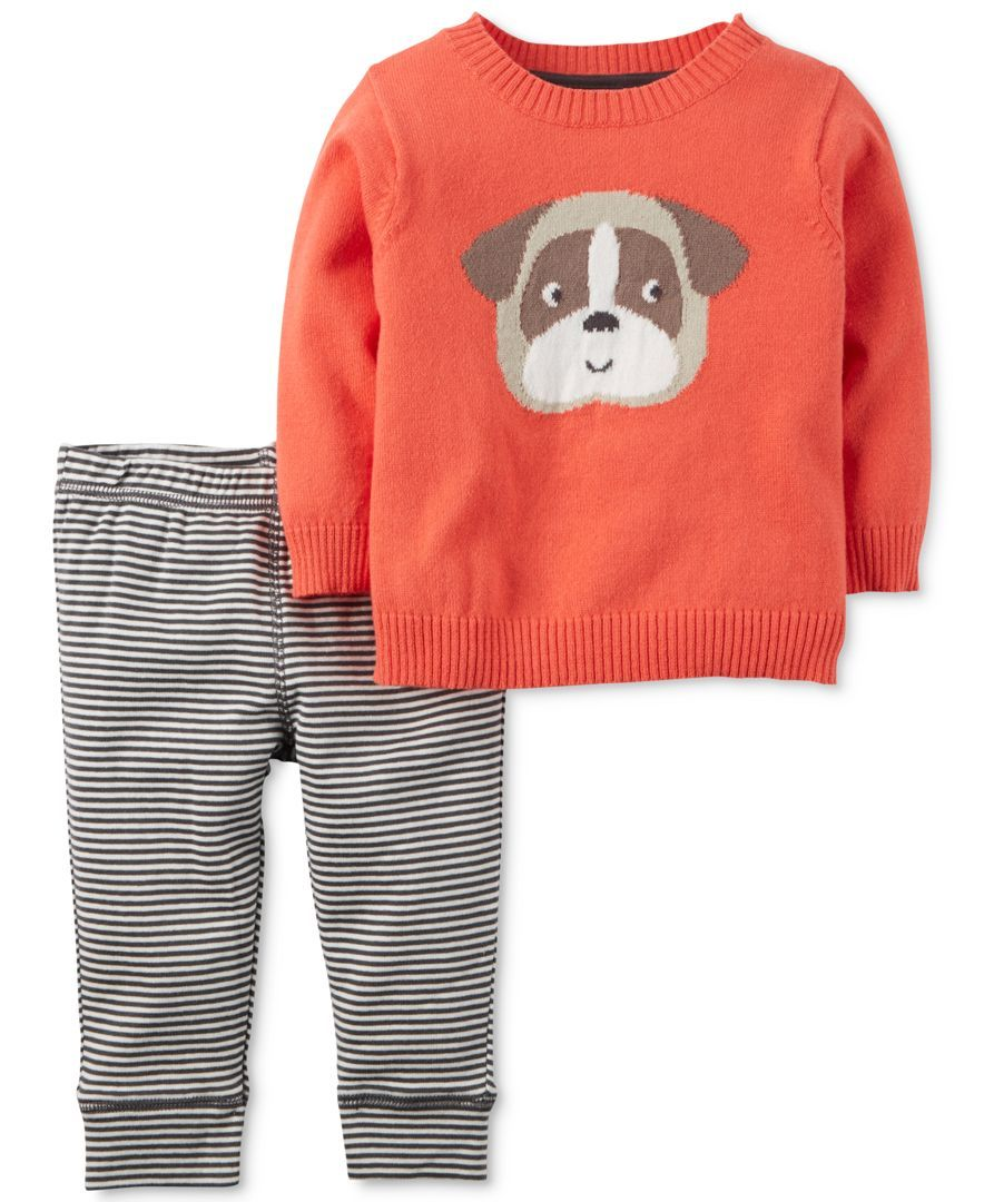 5302cf1f1 Carter s Baby Boys  2-Pc. Intarsia Dog Sweater   Pants Set