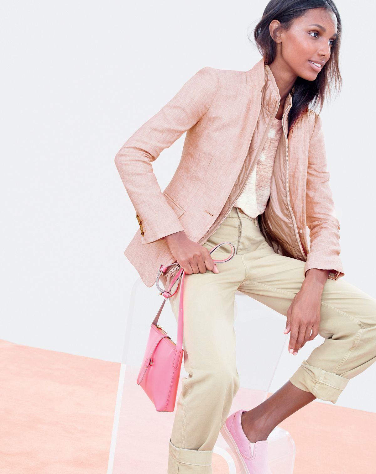 MAR '15 Style Guide: J.Crew women's Regent blazer in linen and Parker crossbody bag in neon flame.