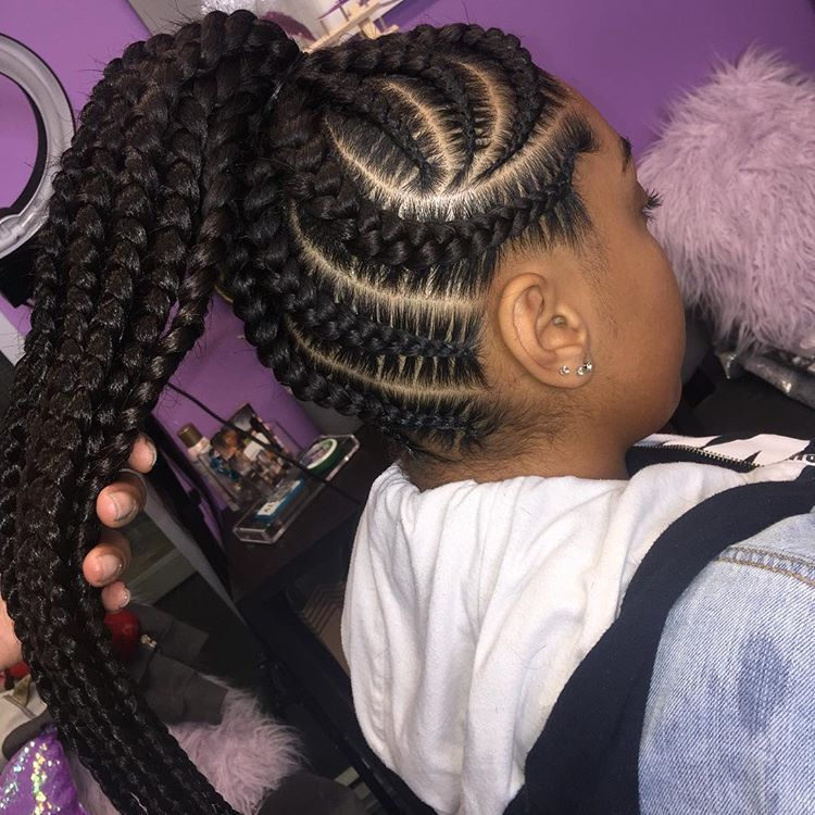 Jumbo Pony With A Twist Book With Guap Appointments Still Available For D Feed In Braids Ponytail Feed In Braids Hairstyles Braided Hairstyles