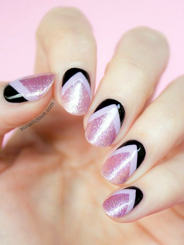 45 Cute Pink And Black Nails Designs Nails Pinterest Black