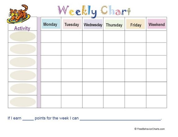 FREE Weekly Behavior and Chore Chart (Pastel Style Behaviour - free chart