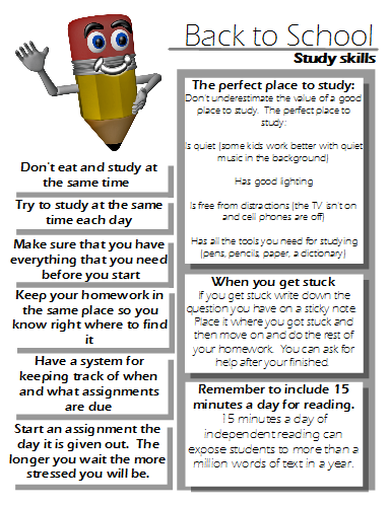 Classroom Handout Ideas : Study skills handout good to give parents on back