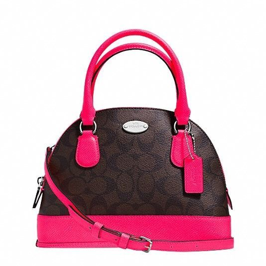 f33f7730f6 NWT COACH SIGNATURE NEON PINK LEATHER MINI CORA DOMED SATCHEL BAG TOTE 34710  in Clothing