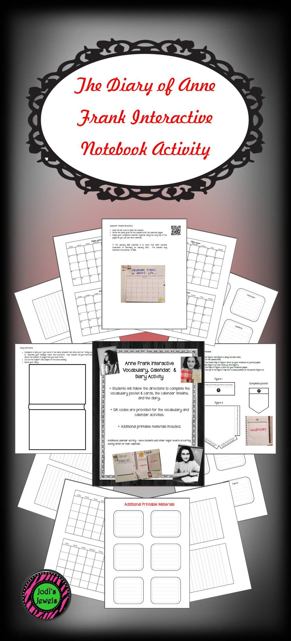 Anne Frank Interactive Vocabulary Calendar And Diary Activity
