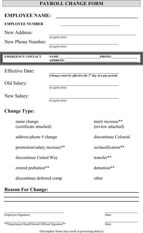 Payroll Change Form  Payroll Forms Free