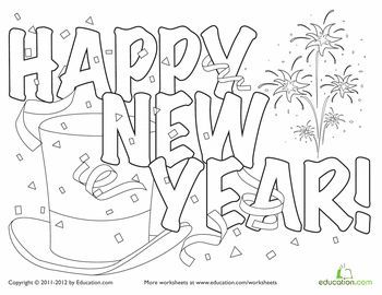 festive new year hat coloring page