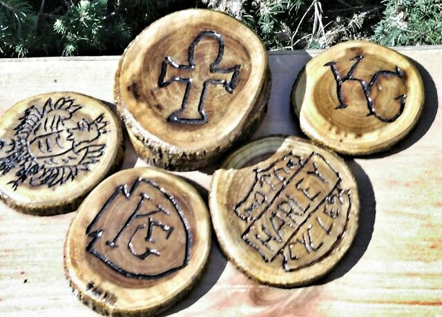 Coasters carved out of oak.