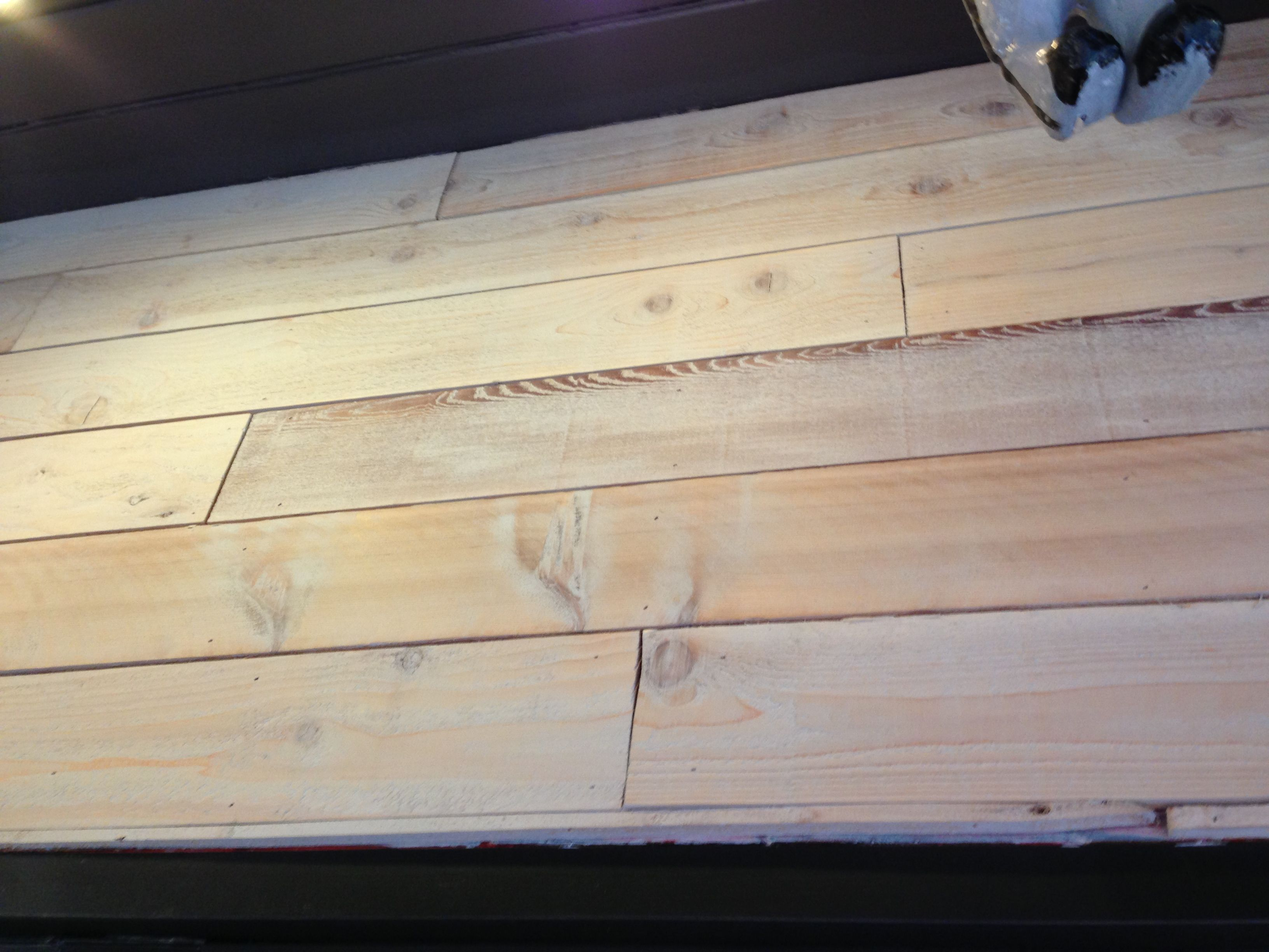 Rough Cedar Planks With White Stain On Wall At El Camion