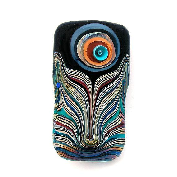 Peacock Feather-  Handmade Lampwork focal bead. Free worldwide shipping