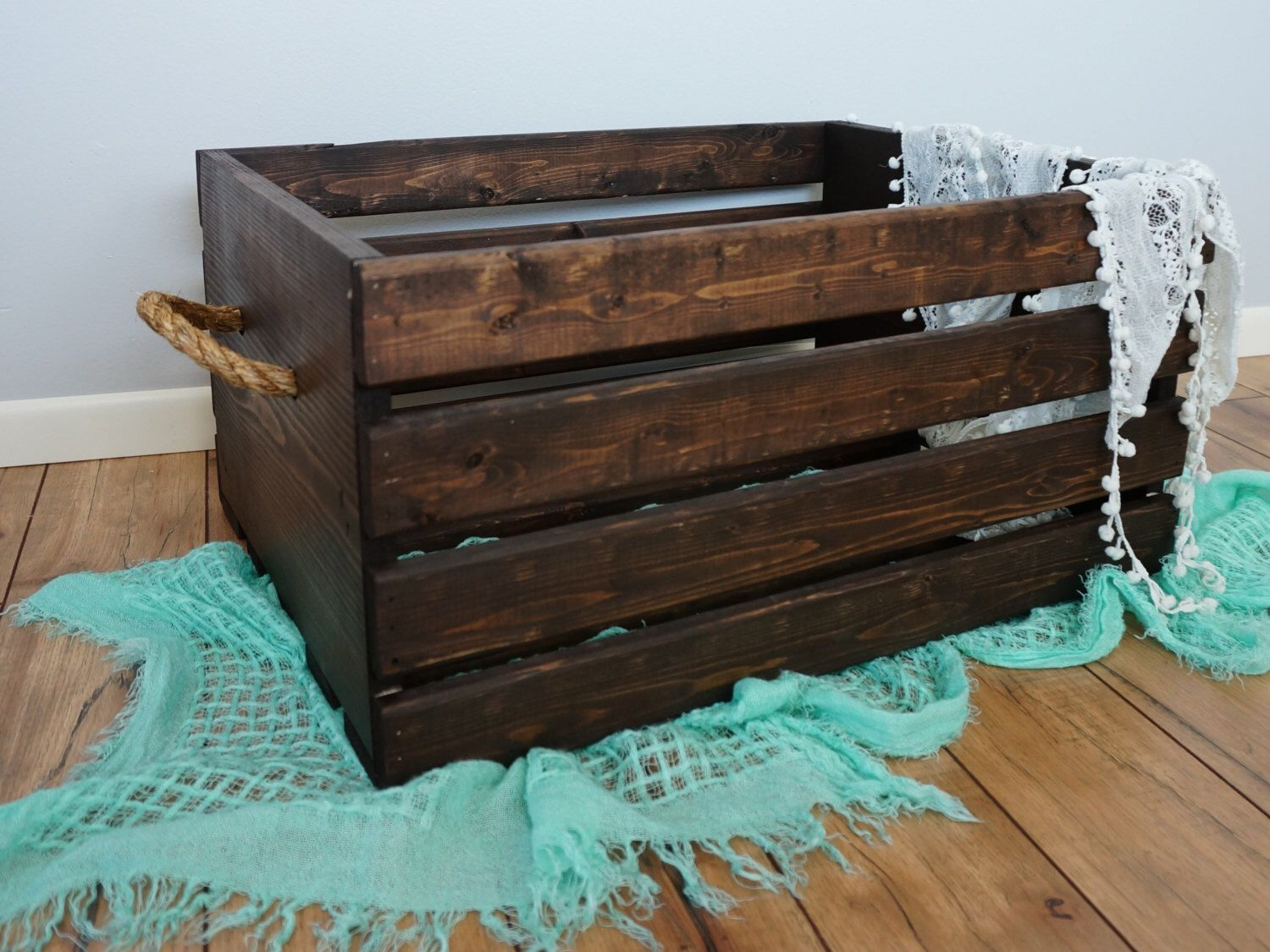 Rustic Wood Crate with Rope Handles - Large 20x16x11.75 by MatterofFractions on Etsy https://www.etsy.com/listing/224410709/rustic-wood-crate-with-rope-handles
