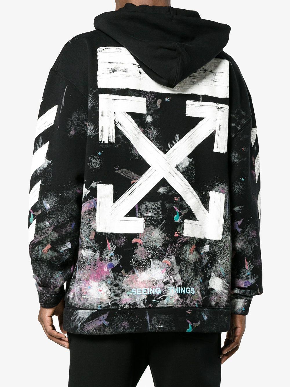 3deb6cadbfad Off-White diagonal stripe print galaxy hoodie