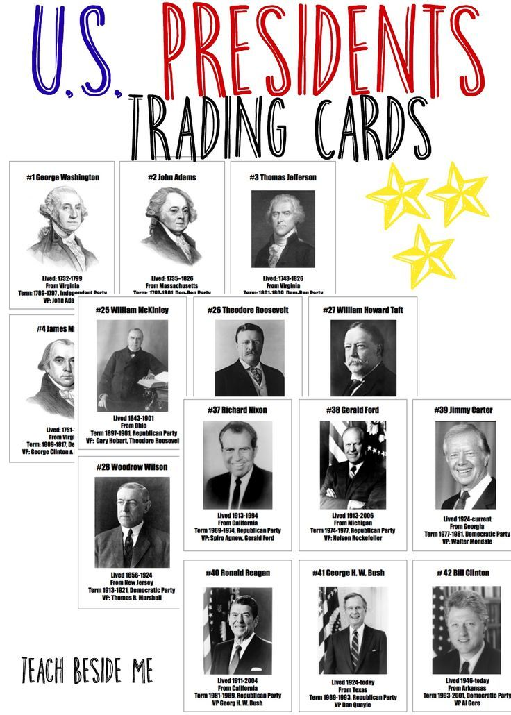 President Trading Cards  Trading Cards Social Studies And Homeschool