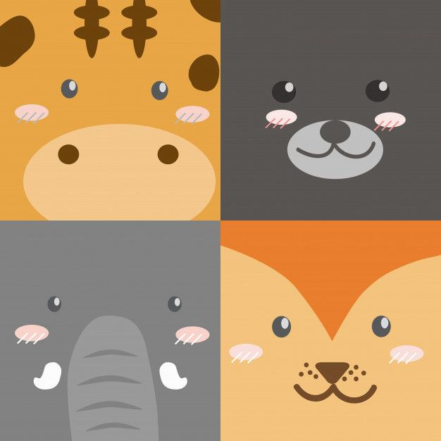 Cute Cartoon Animals Faces Collection Square Design Style