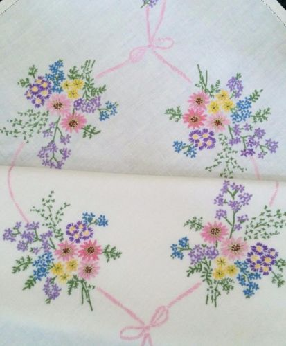 Vintage colourful hand embroidered linen floral pink bow