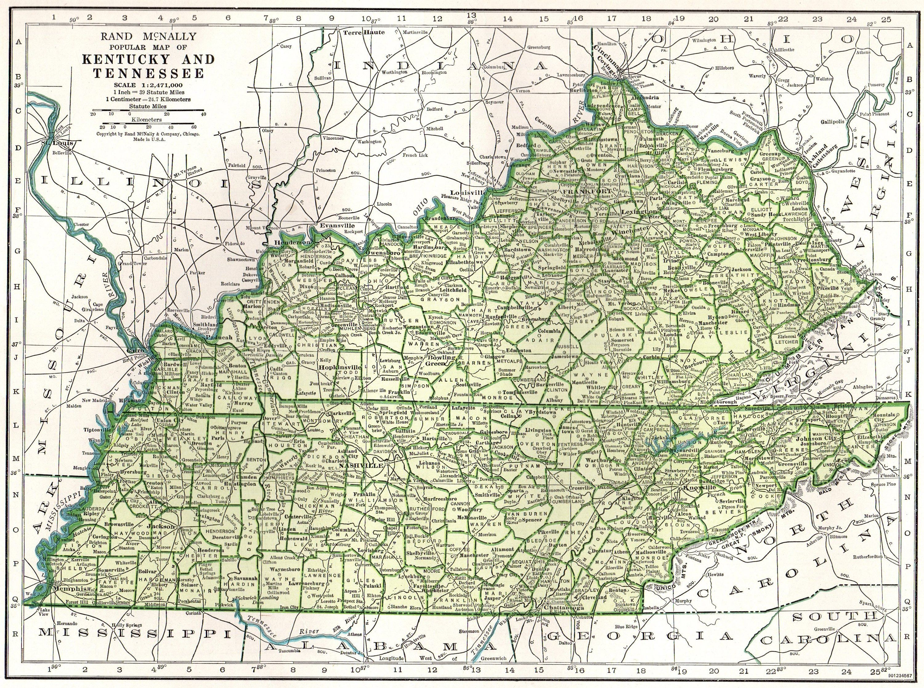 1944 Vintage KENTUCKY Map TENNESSEE State Map Gallery Wall ...