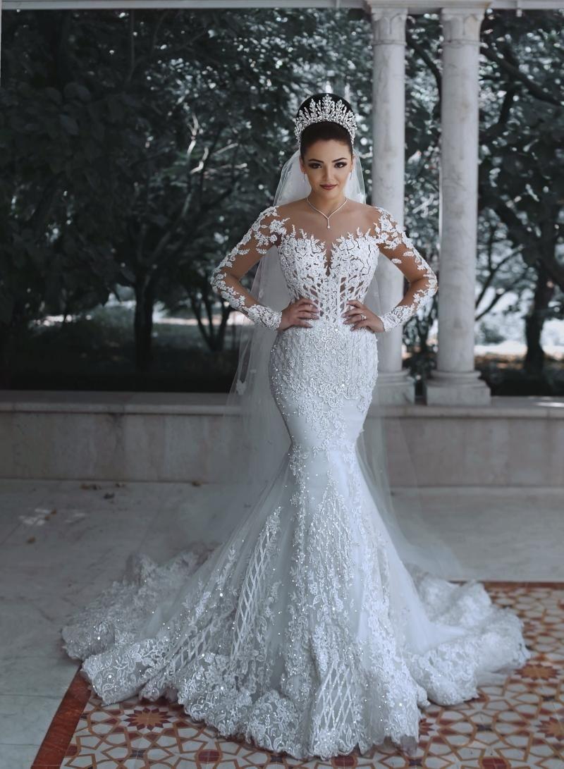 2019 Latest Mermaid Crystal Luxury Wedding Dresses Long Sleeves Lace Applique Bridal Wedding Gowns Vestidos Sheer Scoop Bride Dress From Kissbridal 200 50 D Vestido De Casamento Perfeito Vestido De Casamento [ 1091 x 800 Pixel ]