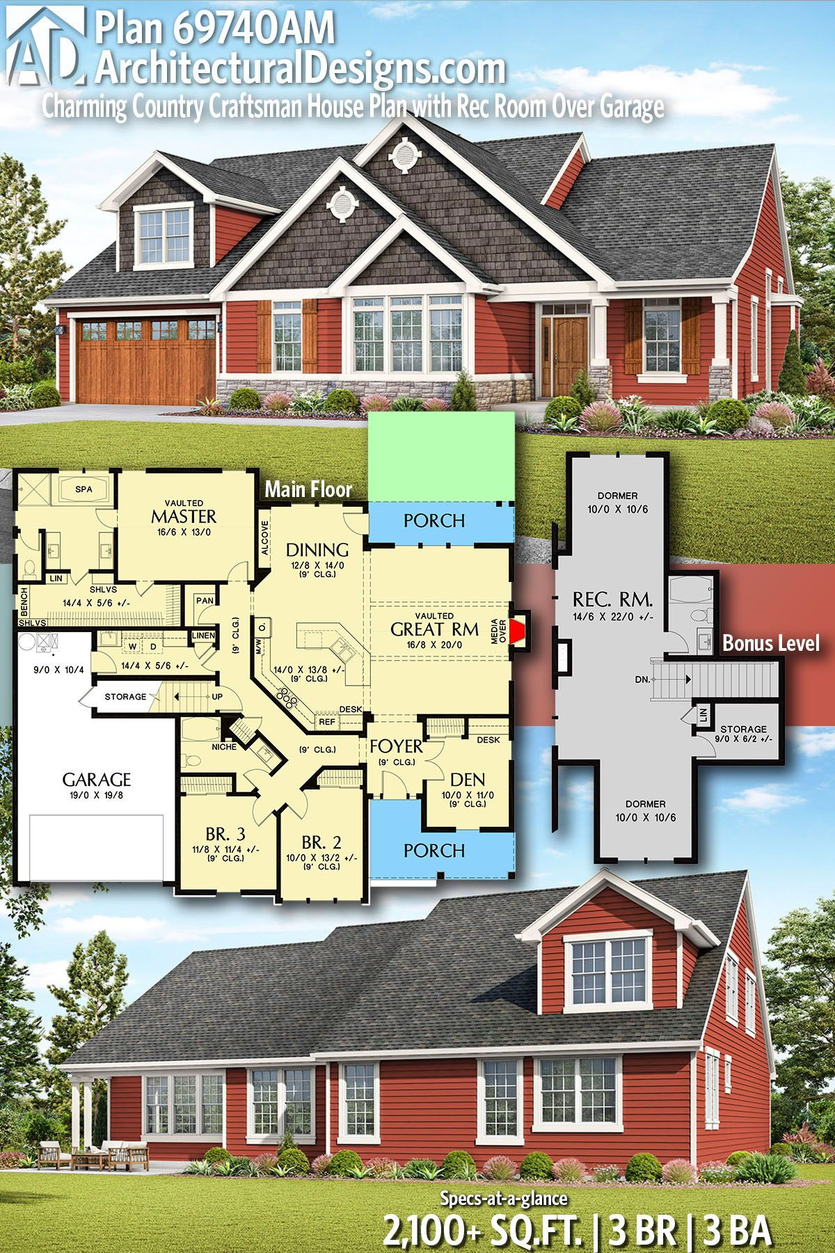Plan 69740am Charming Country Craftsman House Plan With Rec Room Over Garage Craftsman House Plan Craftsman House Craftsman House Plans