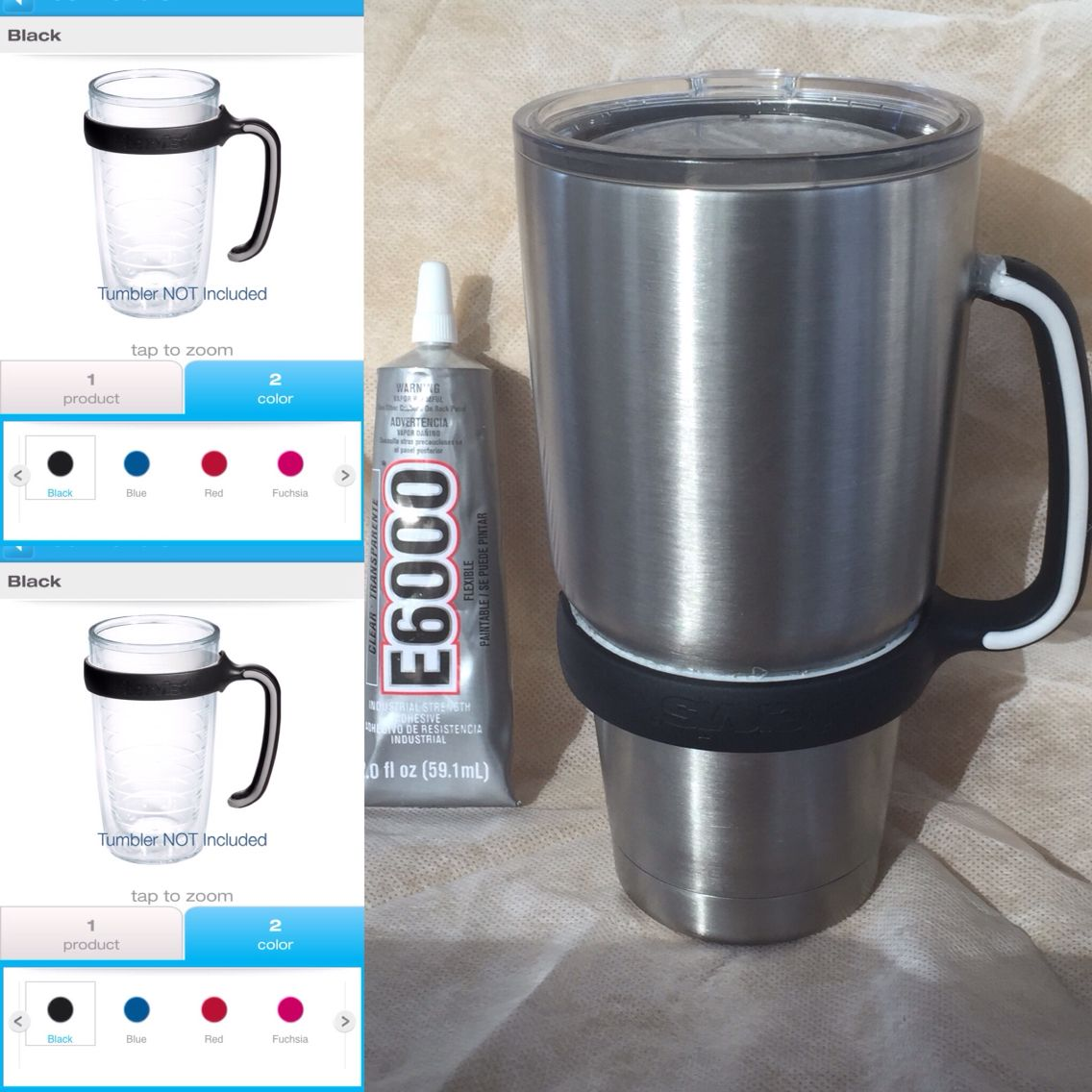 DIY Yeti handle supplies handle from Tervis Tumbler