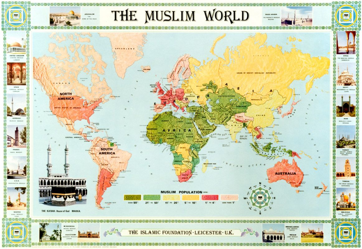 The muslim world map english the muslim world map english the muslim world map english revised in 2005 is colour coded to show the population of muslims around the world x full colour gumiabroncs Gallery