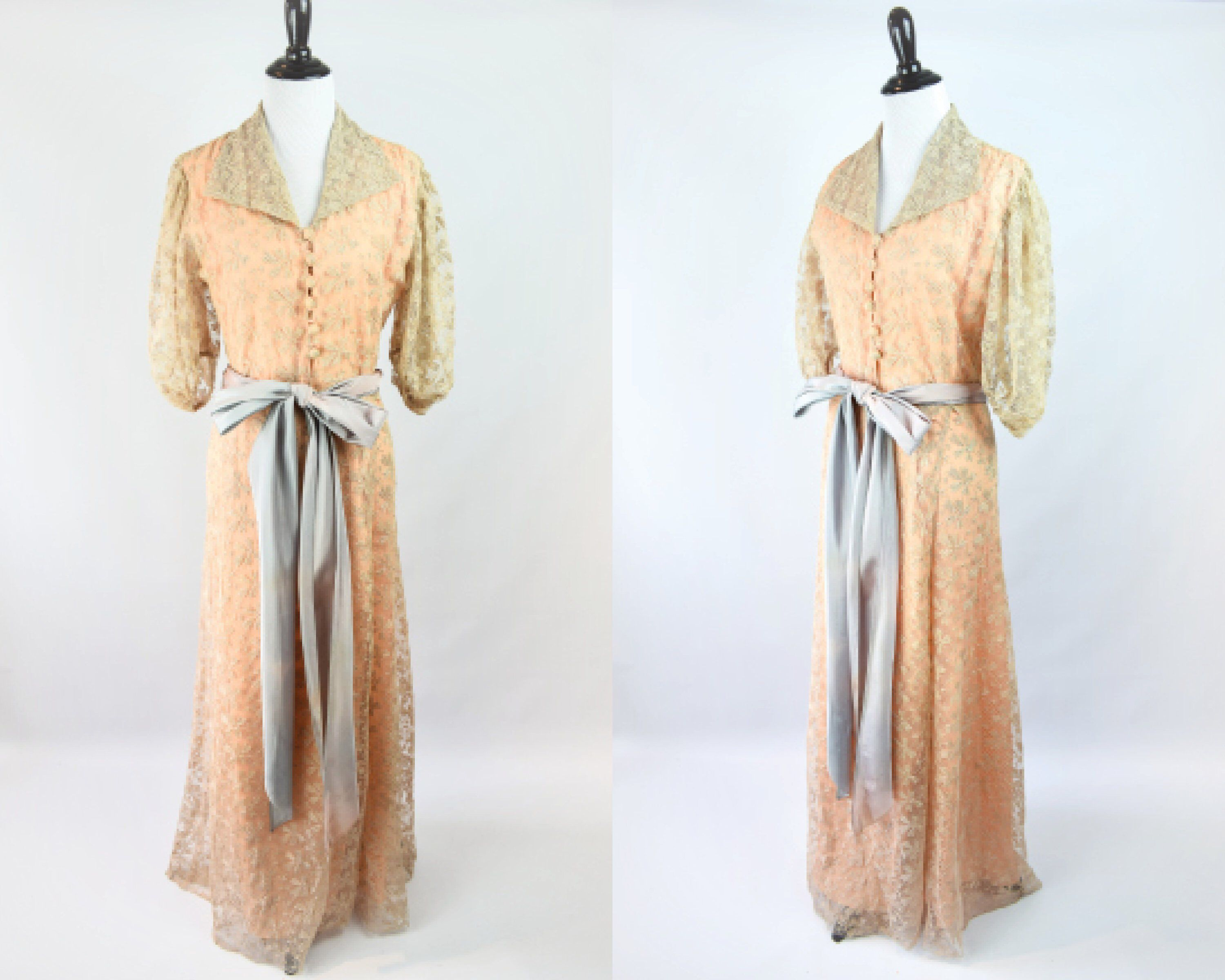 1940s Blush Lace Dressing Gown As-Is // As Is 1940s Lace Lingerie ...