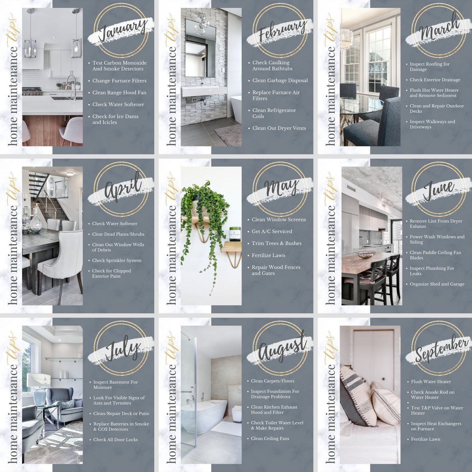 Real Estate Instagram Posts, Monthly home maintena