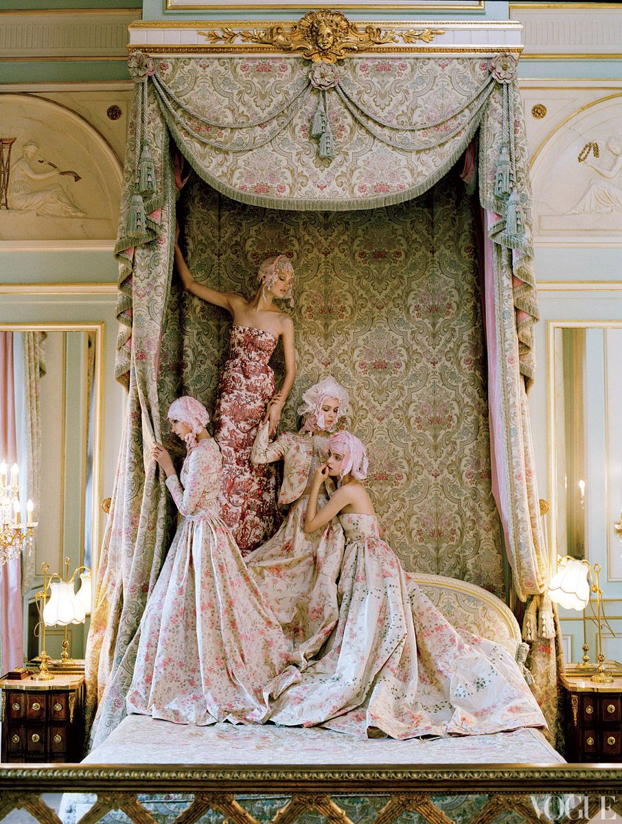 Marie Antoinette Inspired Bedroom Kate Moss At The Ritz In Paris Vogue Fashion Editor Grace