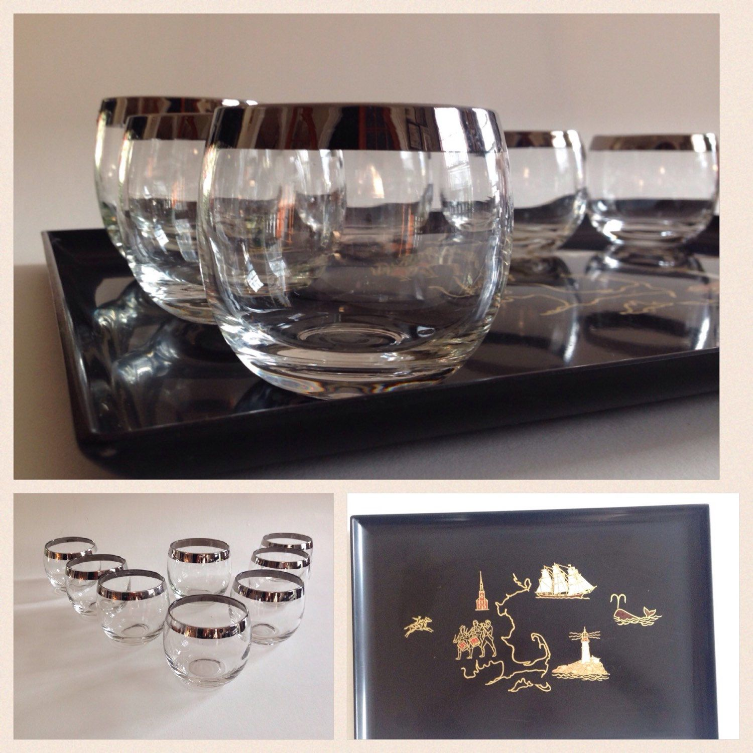 Mid Century Barware Gles Roly Poly With Couroc Tray