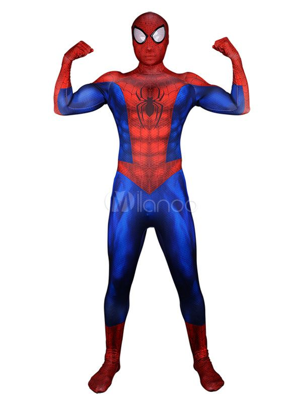 Spiderman Peter Parker Marvel Comics Halloween Cosplay Costume Lycra Spandex Catsuit Jump ...