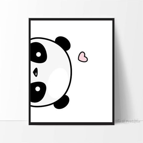 Panda imprimible de lado, lindo estampado de panda, Kawaii /