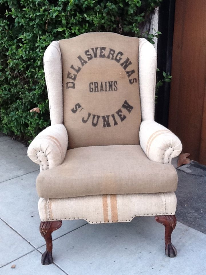 French Grain Sack Chair Thoughts For Recovering The Wing