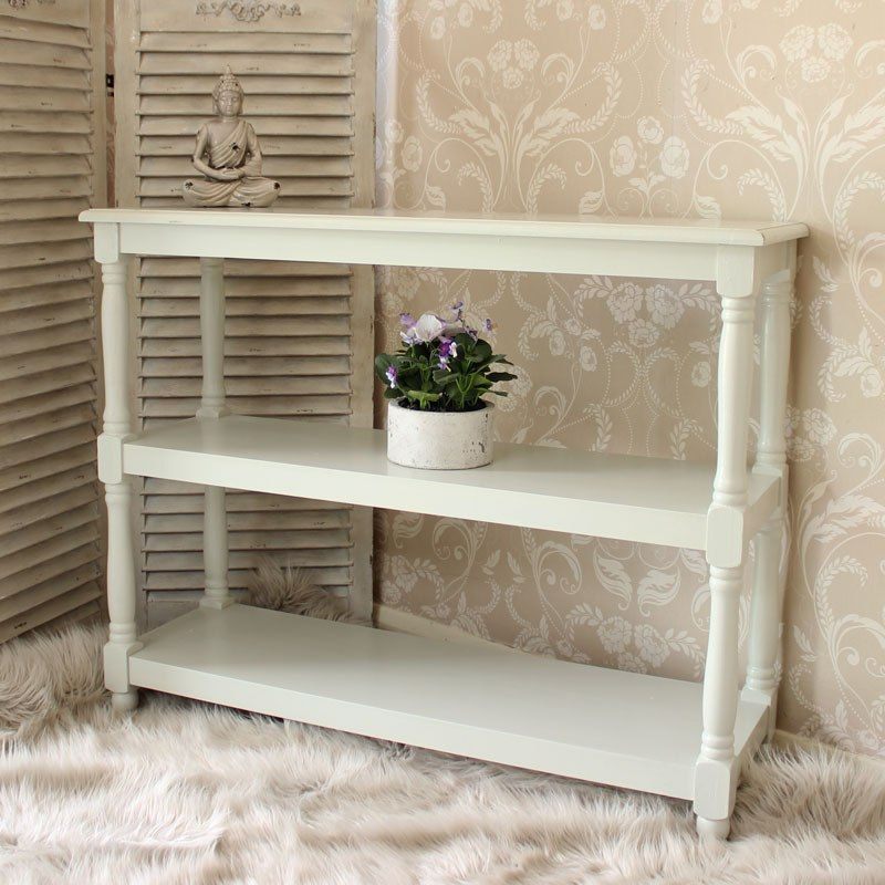 Cream Console Table with 2 Shelves