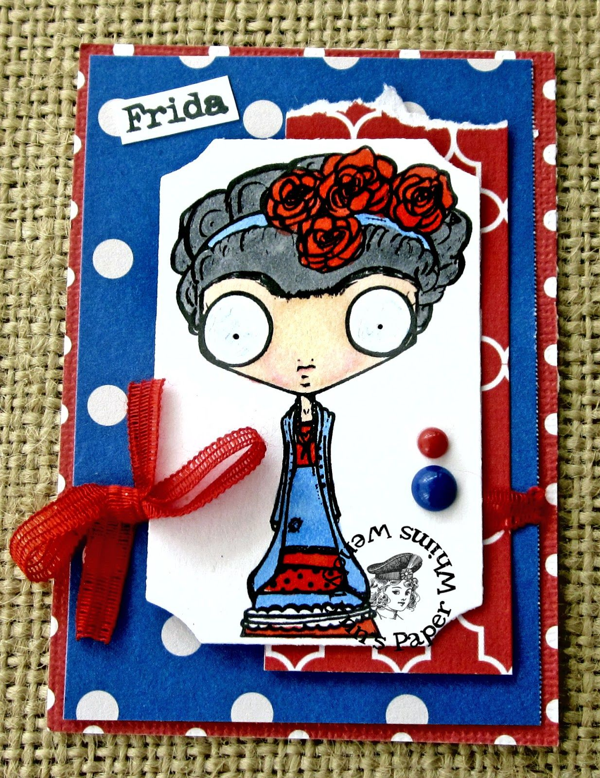 Wendylynn's Paper Whims: Frida in Red+White+Blue - Wicked Wednesday (DT)