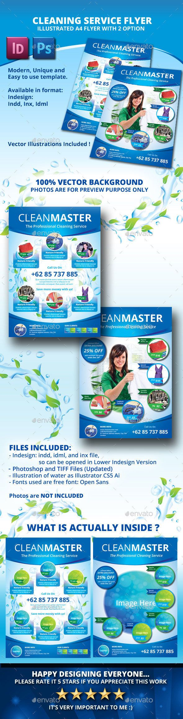 Eco Cleaning Service A4 Flyer With 2 Layout Fonts Logos Icons