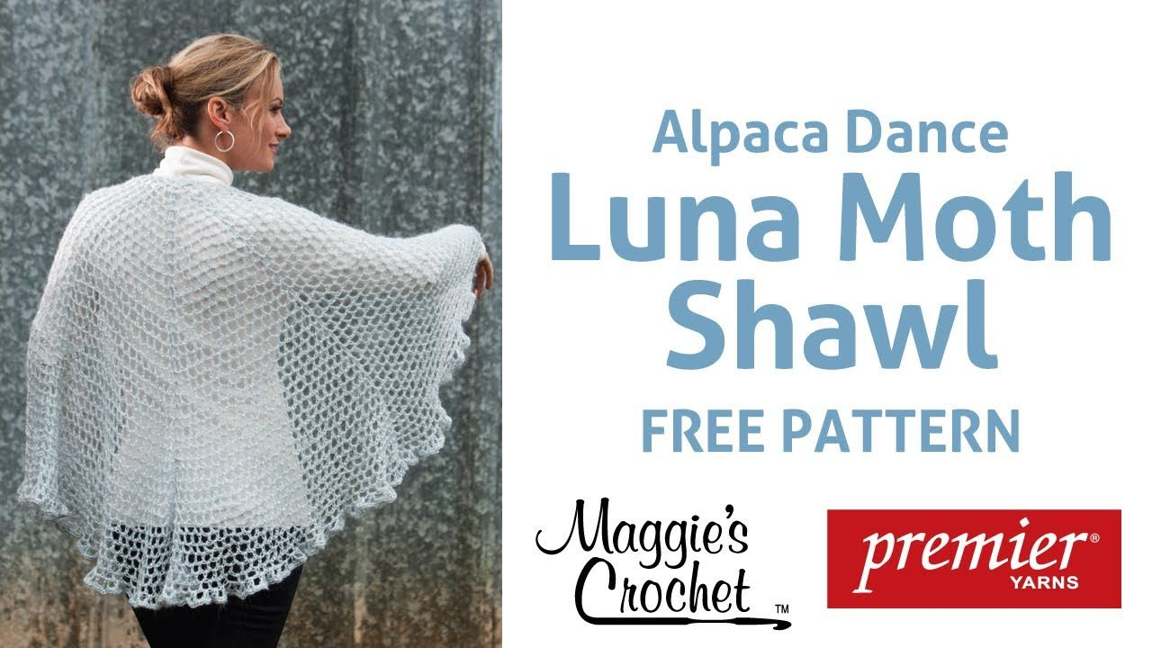 Alpaca Dance Luna Moth Shawl Free Crochet Pattern - Right Handed ...