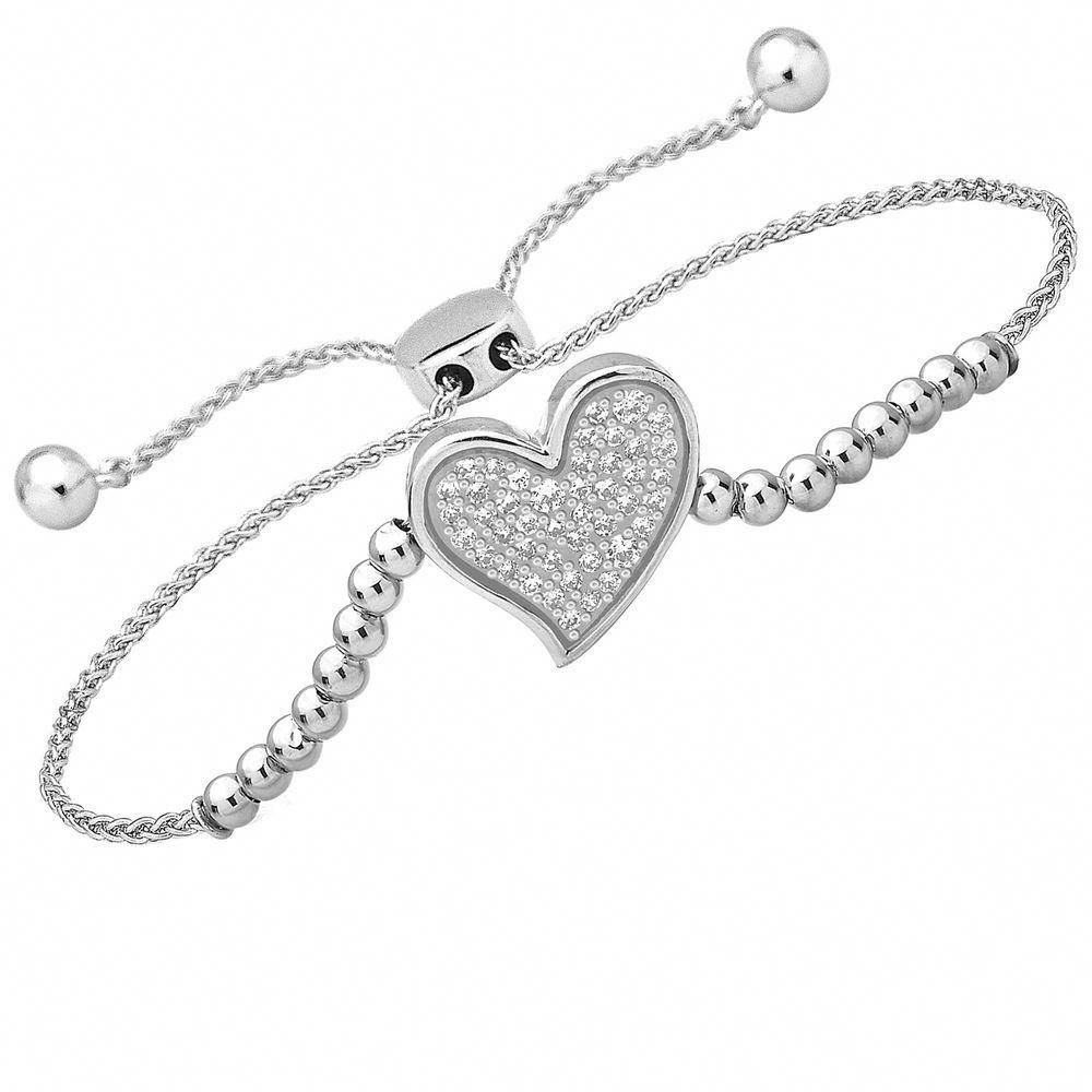 1 4 Ct 14k Diamond Solid White Gold Heart Bolo Bracelet 9 Adjustable Ladies C Bracelets Gold Diamond Jewelry Bracelets Gold Sterling Silver Diamond Bracelets