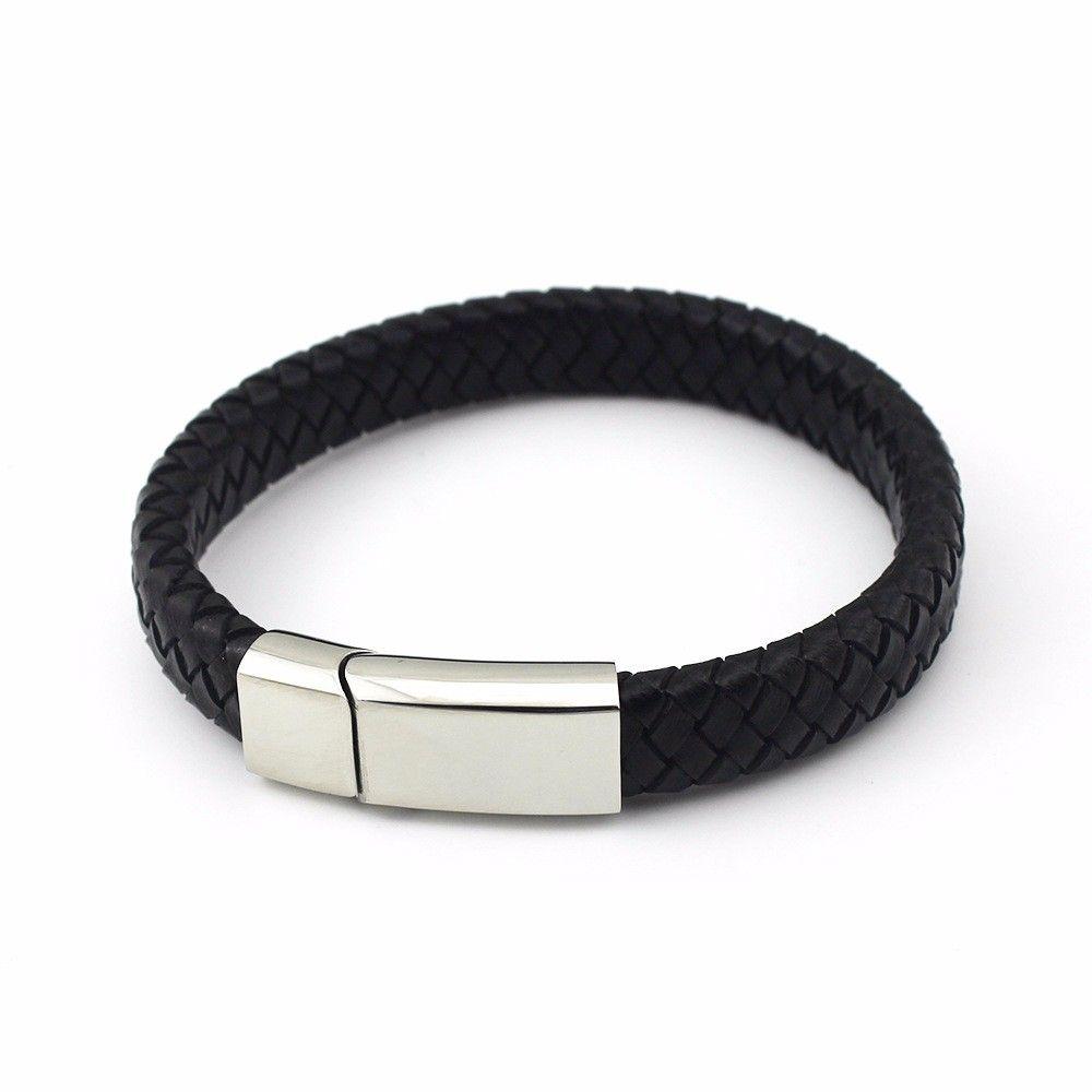 4ad4f4627ce0 Moda negro PU cuero trenzado pulseras para hombre