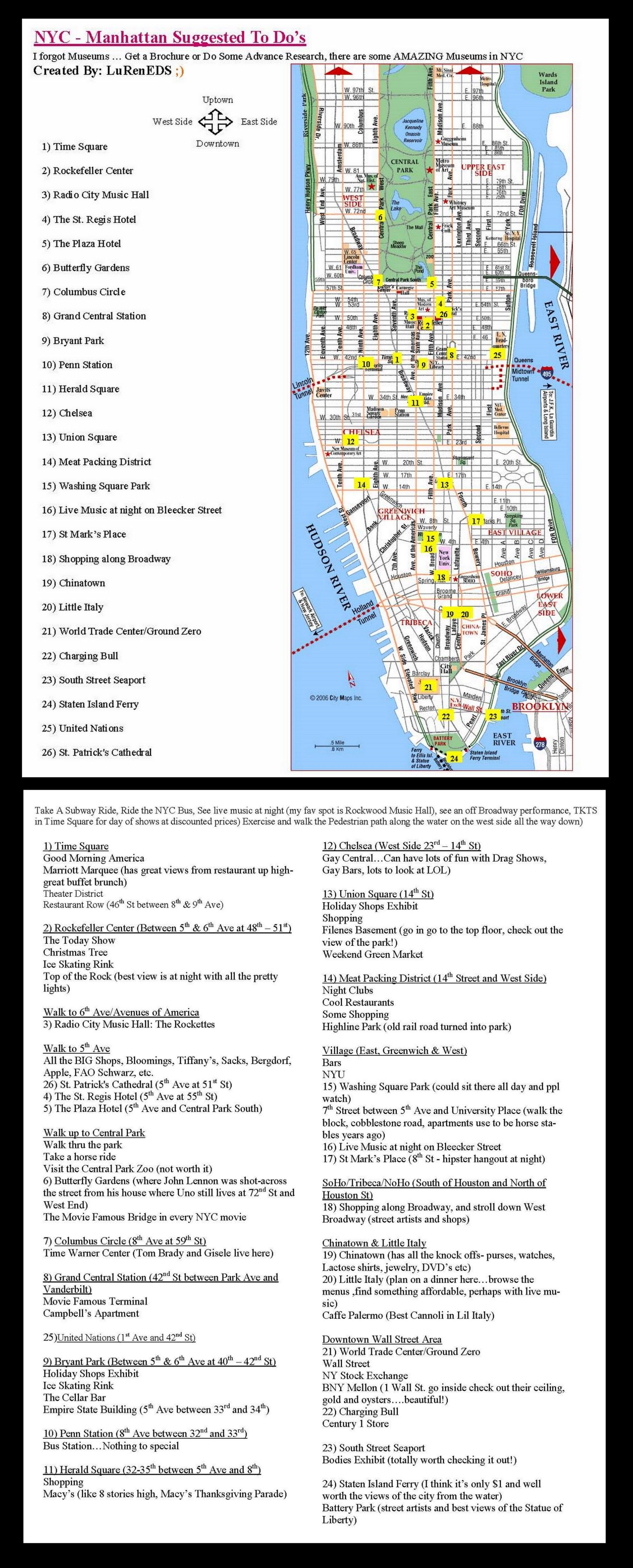 New York City Visitors To Do List Map You D Have To Pay Big